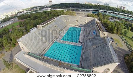MOSCOW - AUG 16, 2014: Outdoor Swimming Pool at the Complex Luzhniki, aerial view. One of the largest pools Russia
