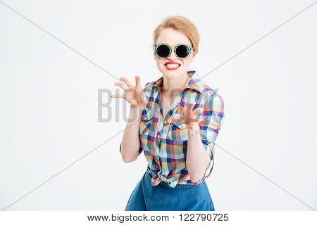 Woman frightening isolated on a white background