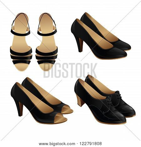 Vector illustration of classic shoe style. Set of woman leather black shoes . Pair of black formal shoes for business woman.