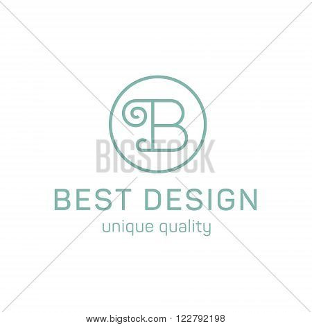 Design logo letter b in the flat steel quality and trend art