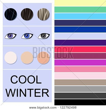 Stock vector seasonal color analysis palette for cool winter type. Type of female appearance