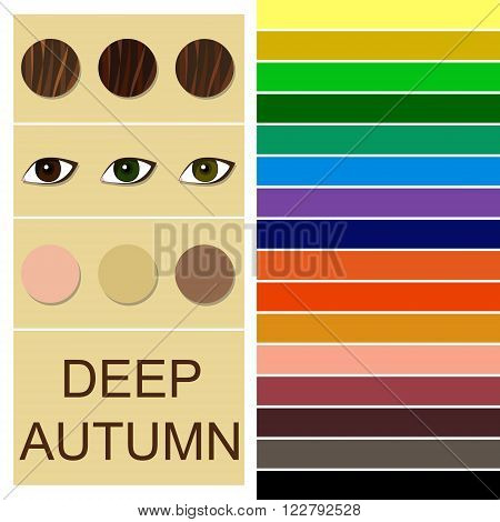 Stock vector seasonal color analysis palette for deep autumn type. Type of female appearance