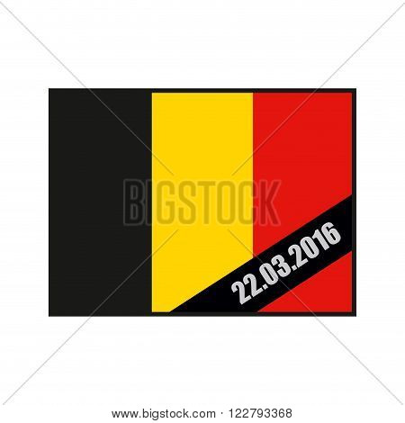 Mourning Ribbon on flag of Belgium. Attack in Brussels on March 22 in the year 2016. Grief for dead in Brussels. explosion in Belgium. terrorist attack in Brussels