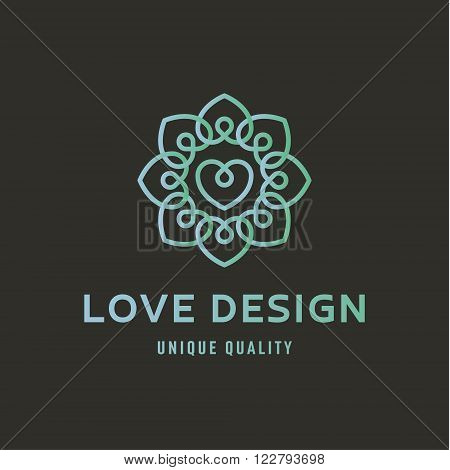 Sign of Love logo on wedding agency quality flat trend lustration art