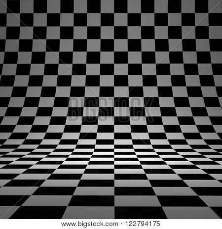 Black and white checker 3D studio background.