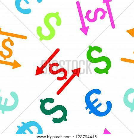 Money Transactions vector repeatable pattern with dollar and euro currency symbols. Style is flat colored icons on a white background.
