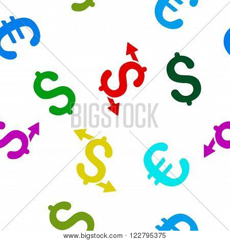 Payouts vector repeatable pattern with dollar and euro currency symbols. Style is flat colored icons on a white background.