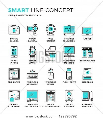 Set of modern thin line icon collection concept of Device , Technology. Pixel perfect icon design for Web Graphic , Mobile app ,Vector Design illustration.
