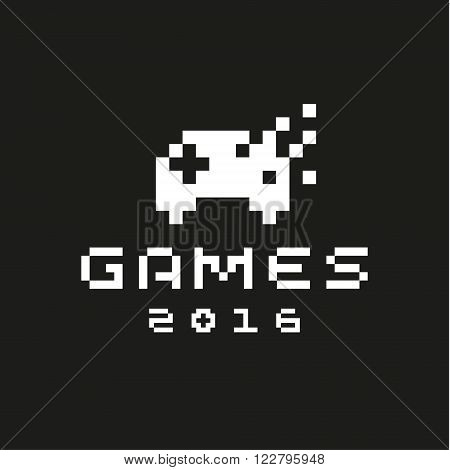 Pixel Game button joystick on a gamepad in black and white style logos icon vector art