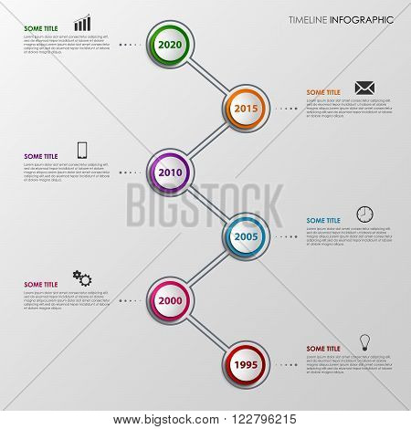 Time line info graphic with colorful design pointers template vector eps 10