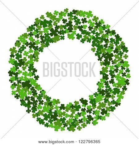 Circle frame with clover leaves for St. Patricks day isolated on white background. Elegant round border for greeting card, postcard, invitation, festive banner, flyer, poster. Vector illustration.