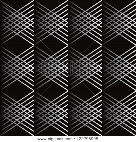 Silver Diagonal lines checkered seamless pattern. Black background. Vector. Digital illustration. For Art, Print, Fashion, Textile, Web Design.