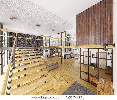 Loft Apartment Interior 3D Render
