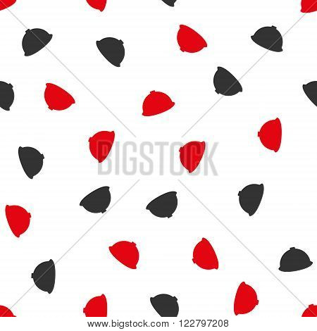 Builder Helmet vector seamless repeatable pattern. Style is flat red and dark gray builder helmet symbols on a white background.