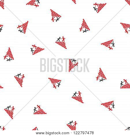 Builder Stairs Help vector seamless repeatable pattern. Style is flat red and dark gray builder stairs help symbols on a white background.