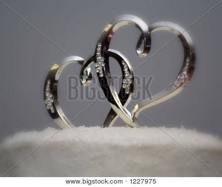 Silver And Crystal Hearts