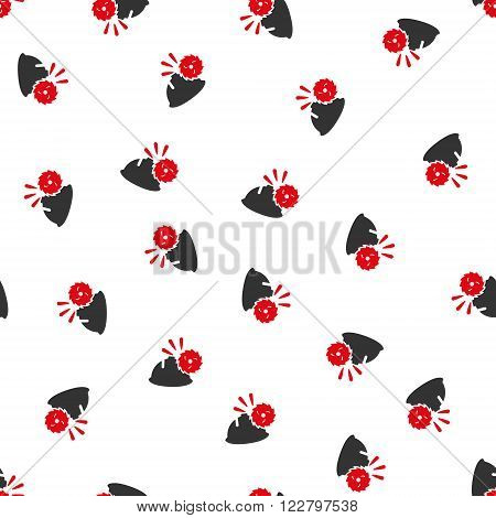 Circular Blade Head Protection vector seamless repeatable pattern. Style is flat red and dark gray circular blade head protection symbols on a white background.