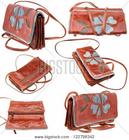 Set From Leather Handbag With Flower Ornament
