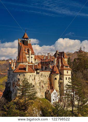 Dracula Castle in Bran Transylvania Romania. Sunny Weather.