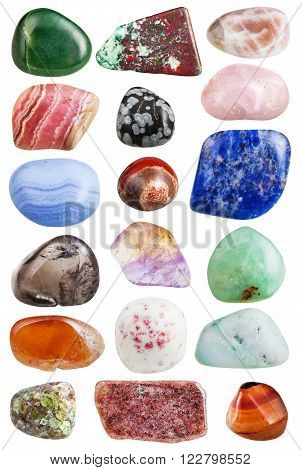 set of mineral gemstones isolated on white:  prehnite aragonite spessartine aventurine cinnabar nephrite chrysolite jasper moonstone rhodochrosite cuprite sodalite chalcedony agate obsidian quartz carnelian ametrine