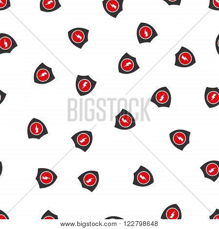Electric Guard vector seamless repeatable pattern. Style is flat red and dark gray electric guard symbols on a white background.