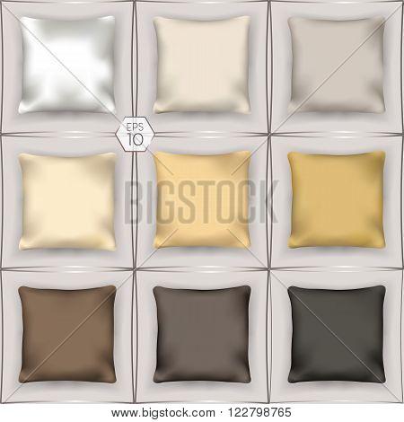 3D set of silk pillows. interior design elements. Vector EPS 10 comfortable editing.