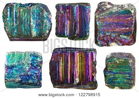 set of separate crystals of iridescent (rainbow) pyrite mineral stone isolated on white background