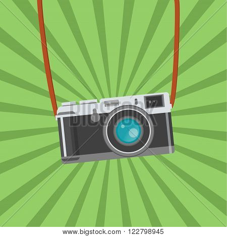 Photo camera. Flat design vector illustration. Old camera with strap, isolated antique camera. Hung retro camera. Retro camera straps.