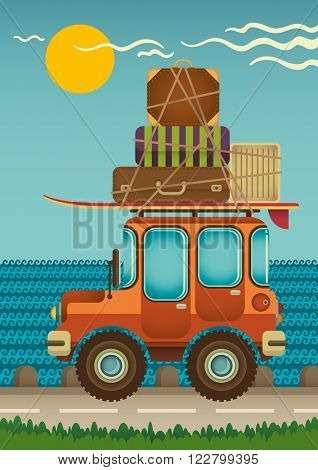 Jeep on the road. Vector illustration.
