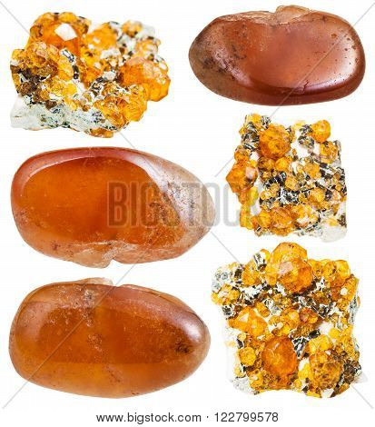 Set Of Spessartine (garnet) Crystals And Gemstones