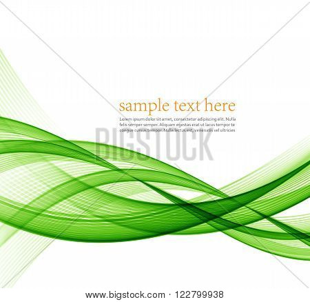 Abstract green wavy lines.  Colorful vector background