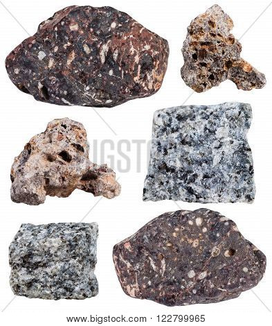 set of various basalt mineral stone isolated on white background