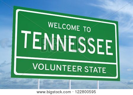 Welcome to Tennessee state concept on road sign