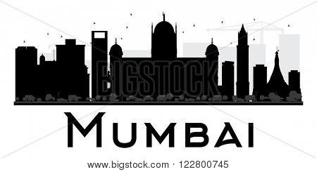 Mumbai City skyline black and white silhouette. Vector illustration. Simple flat concept for tourism presentation, banner, placard or web site. Business travel concept. Cityscape with landmarks