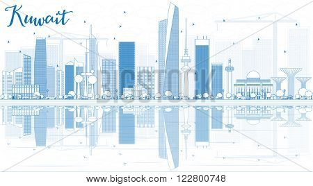 Outline Kuwait City Skyline with Blue Buildings and Reflections. Vector Illustration. Business Travel and Tourism Concept with Modern Buildings. Image for Presentation Banner Placard and Web.