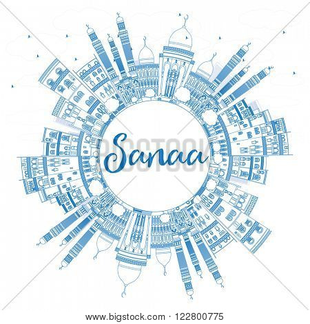 Outline Sanaa (Yemen) Skyline with Blue Buildings. Vector Illustration. Business Travel and Tourism Concept with Copy Space. Image for Presentation Banner, Placard and Web Site.