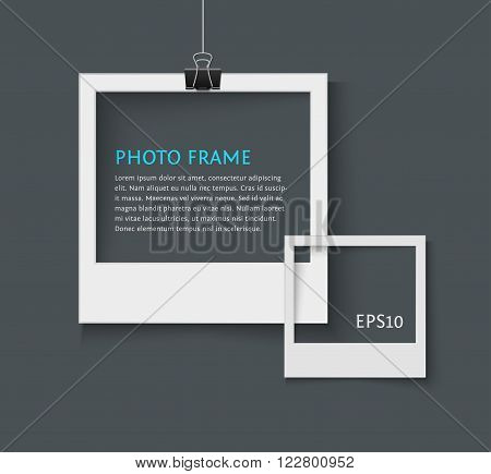 Old style photo frame. Vector illustration of blank retro photo frame for your design with space for text. frame for web sites