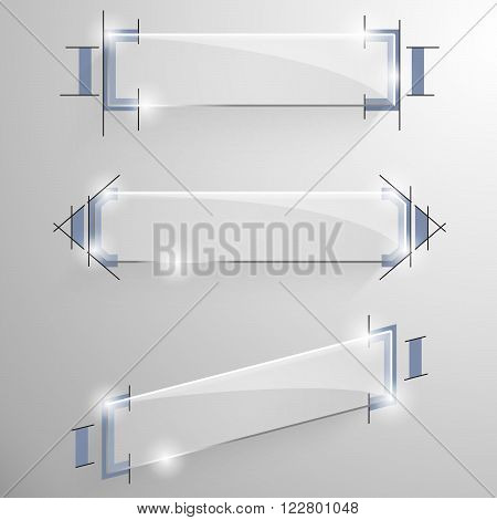 Set of vector glossy sloped rectangular banner with blue design lines drawing services on the background.