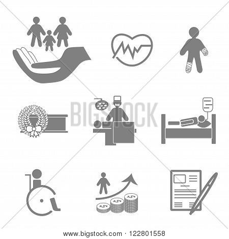 Life and healthy insurance flat icons collection in grey colors