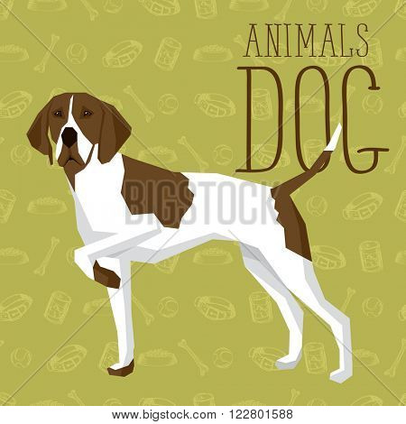 Vector geometric dogs collection with seamless background. English Pointer