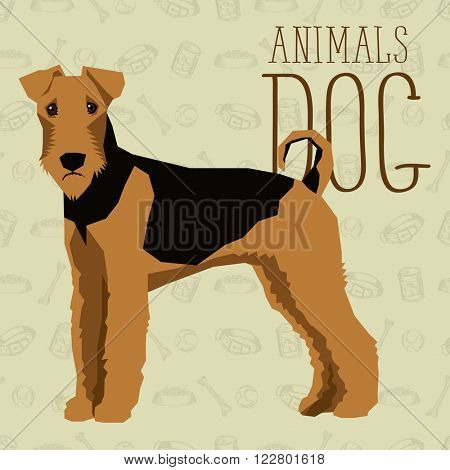 Vector geometric dogs collection with seamless background. Airedale Terrier