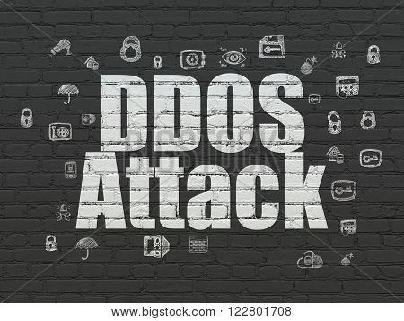 Safety concept: DDOS Attack on wall background
