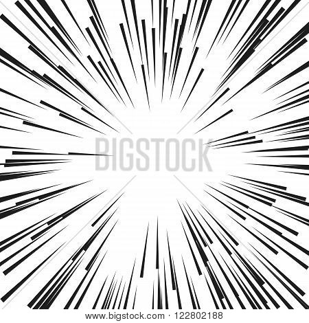Comic Radial Speed Lines. Graphic Explosion with Speed Lines. Comic Book Design Element. Vector Illustration. Explosion vector illustration Square fight stamp Sun ray Star burst Spray paint Grunge dirty ink texture
