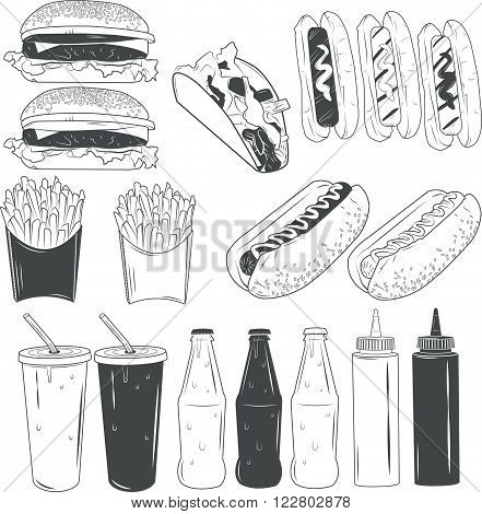 Vector set of fast food products isolated on white background in monochrome style. Design elements and icons. Hotdog, burger, french fries, cola bottles.