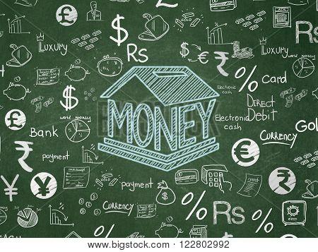 Money concept: Money Box on School Board background