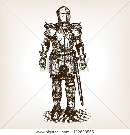 Medieval knight armour and sword sketch style vector illustration. Old hand drawn engraving imitation. Historical human armor