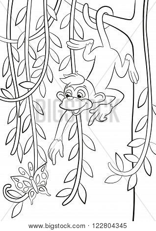 Coloring pages. Little cute monkey is hanging on the tree branch in the forest smiling and poingting somethere.