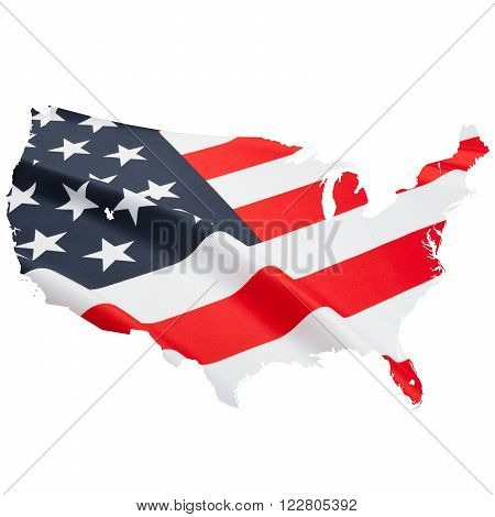Flag blowing in the wind. Part of border shaped ruffled flag series - United States of America