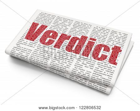 Law concept: Verdict on Newspaper background