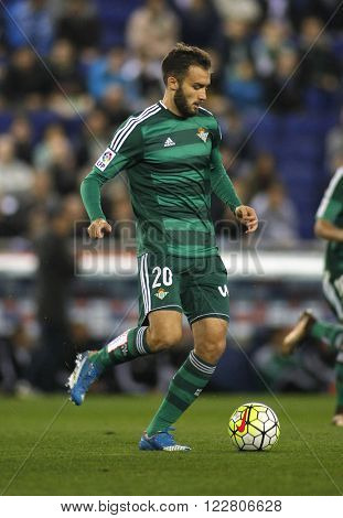 BARCELONA - MARCH, 3: German Pezzella of Real Betis during a Spanish League match against RCD Espanyol at the Power8 stadium on March 3, 2016 in Barcelona, Spain